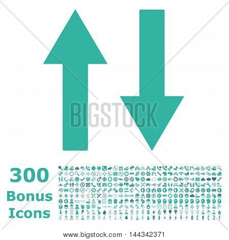 Vertical Flip Arrows icon with 300 bonus icons. Vector illustration style is flat iconic bicolor symbols, cobalt and cyan colors, white background.