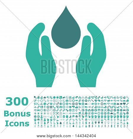 Water Care icon with 300 bonus icons. Vector illustration style is flat iconic bicolor symbols, cobalt and cyan colors, white background.