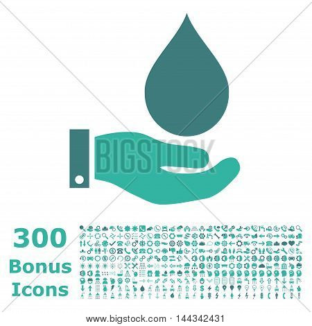 Water Service icon with 300 bonus icons. Vector illustration style is flat iconic bicolor symbols, cobalt and cyan colors, white background.