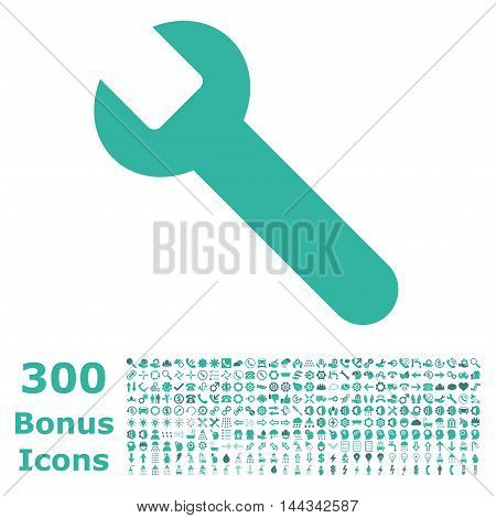 Wrench icon with 300 bonus icons. Vector illustration style is flat iconic bicolor symbols, cobalt and cyan colors, white background.