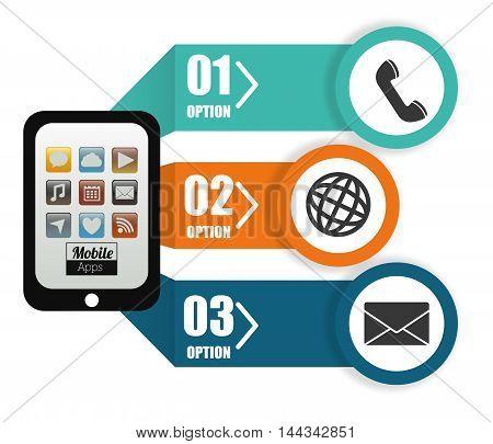 smartphone phone global envelope options mobile apps application online icon set. Colorful and flat design. Vector illustration