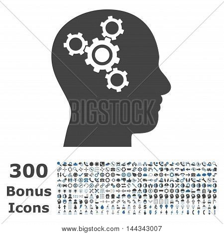 Brain Mechanics icon with 300 bonus icons. Vector illustration style is flat iconic bicolor symbols, cobalt and gray colors, white background.
