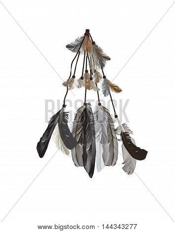 Naturalistic Feathers Bird Isolated on White Background. EPS10