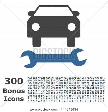 Car Repair icon with 300 bonus icons. Vector illustration style is flat iconic bicolor symbols, cobalt and gray colors, white background.