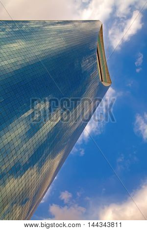 RIYADH - August 22: Kingdom tower on August 22, 2016 in Riyadh, Saudi Arabia. Kingdom tower is a business and convention center, shoping mall and one of the main landmarks of Riyadh city