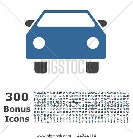 Car icon with 300 bonus icons. Vector illustration style is flat iconic bicolor symbols, cobalt and gray colors, white background.