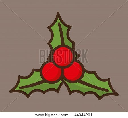 leaves merry christmas decoration celebration con. Colorful and flat design. Vector illustration