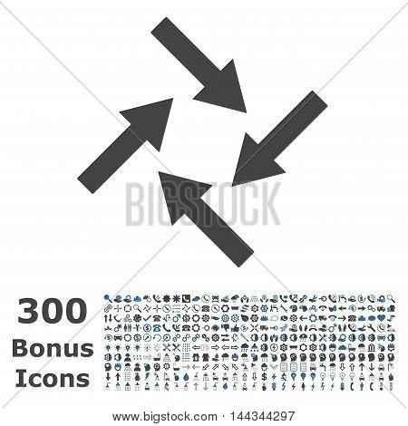Centripetal Arrows icon with 300 bonus icons. Vector illustration style is flat iconic bicolor symbols, cobalt and gray colors, white background.