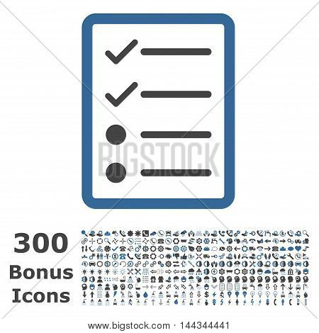 Checklist Page icon with 300 bonus icons. Vector illustration style is flat iconic bicolor symbols, cobalt and gray colors, white background.