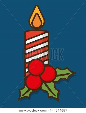 leaves candle merry christmas decoration celebration con. Colorful and flat design. Vector illustration