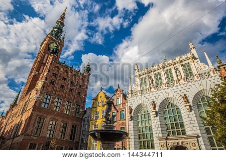 Fountain of the Neptune in old town of Gdansk Poland