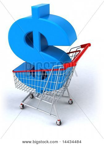 Shopping cart with a dollar
