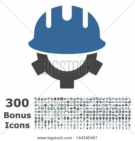 Development Helmet icon with 300 bonus icons. Vector illustration style is flat iconic bicolor symbols, cobalt and gray colors, white background.