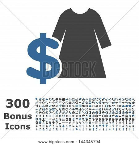 Dress Price icon with 300 bonus icons. Vector illustration style is flat iconic bicolor symbols, cobalt and gray colors, white background.