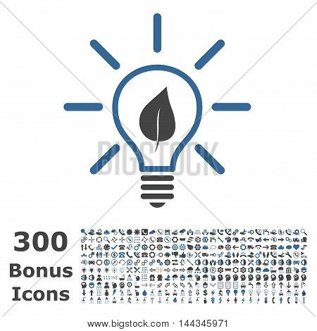 Eco Light Bulb icon with 300 bonus icons. Vector illustration style is flat iconic bicolor symbols, cobalt and gray colors, white background.