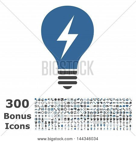 Electric Bulb icon with 300 bonus icons. Vector illustration style is flat iconic bicolor symbols, cobalt and gray colors, white background.