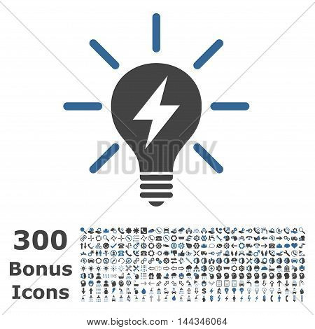 Electric Light Bulb icon with 300 bonus icons. Vector illustration style is flat iconic bicolor symbols, cobalt and gray colors, white background.