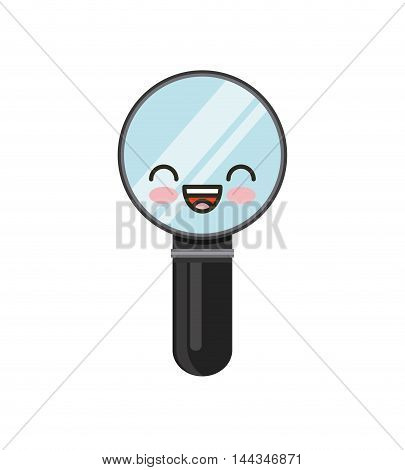 magnifying glass kawaii character isolated icon vector illustration design