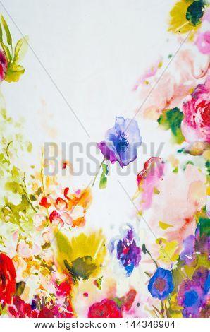 Silk Fabric Texture. Flowers