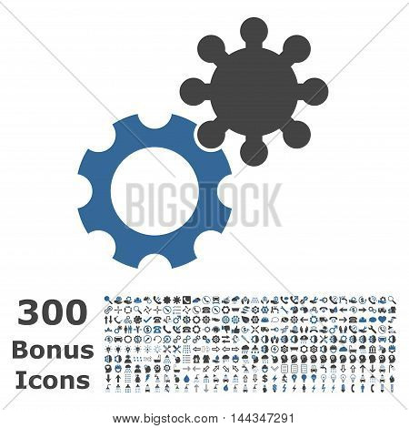 Gears icon with 300 bonus icons. Vector illustration style is flat iconic bicolor symbols, cobalt and gray colors, white background.
