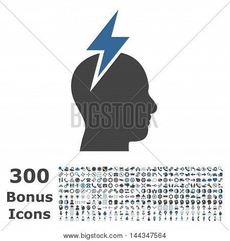Headache icon with 300 bonus icons. Vector illustration style is flat iconic bicolor symbols, cobalt and gray colors, white background.