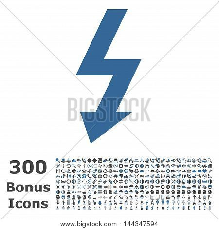 High Voltage icon with 300 bonus icons. Vector illustration style is flat iconic bicolor symbols, cobalt and gray colors, white background.