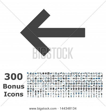Left Arrow icon with 300 bonus icons. Vector illustration style is flat iconic bicolor symbols, cobalt and gray colors, white background.