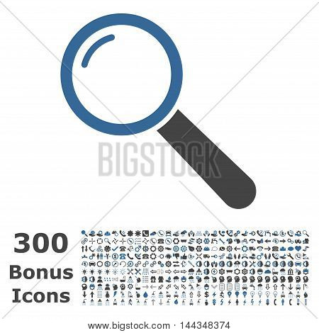 Magnifier icon with 300 bonus icons. Vector illustration style is flat iconic bicolor symbols, cobalt and gray colors, white background.