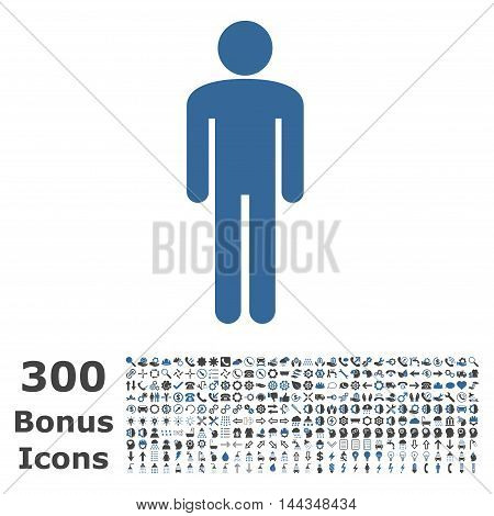 Man icon with 300 bonus icons. Vector illustration style is flat iconic bicolor symbols, cobalt and gray colors, white background.