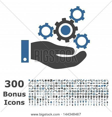 Mechanics Service icon with 300 bonus icons. Vector illustration style is flat iconic bicolor symbols, cobalt and gray colors, white background.