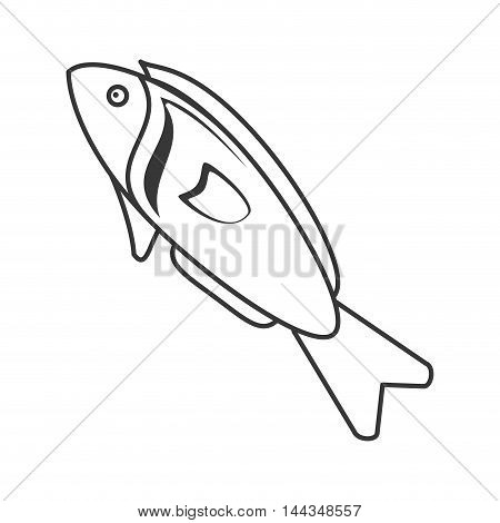 fish organic healthy natural food icon. Flat and Isolated illustration. Vector illustration