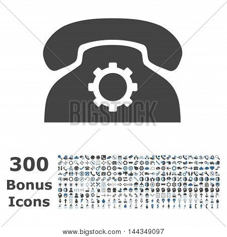 Phone Settings icon with 300 bonus icons. Vector illustration style is flat iconic bicolor symbols, cobalt and gray colors, white background.