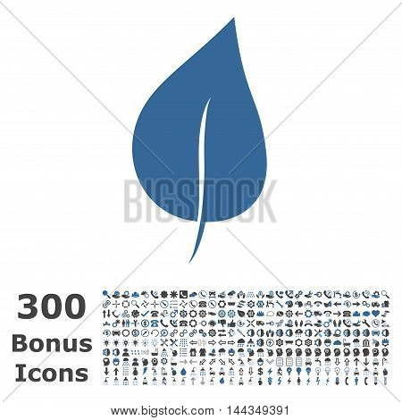 Plant Leaf icon with 300 bonus icons. Vector illustration style is flat iconic bicolor symbols, cobalt and gray colors, white background.