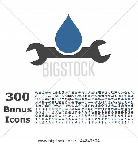 Plumbing icon with 300 bonus icons. Vector illustration style is flat iconic bicolor symbols, cobalt and gray colors, white background.