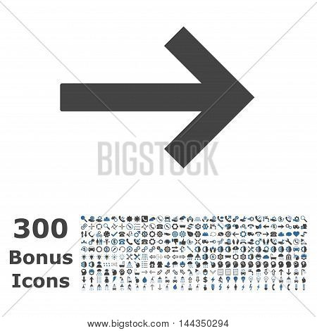 Right Arrow icon with 300 bonus icons. Vector illustration style is flat iconic bicolor symbols, cobalt and gray colors, white background.