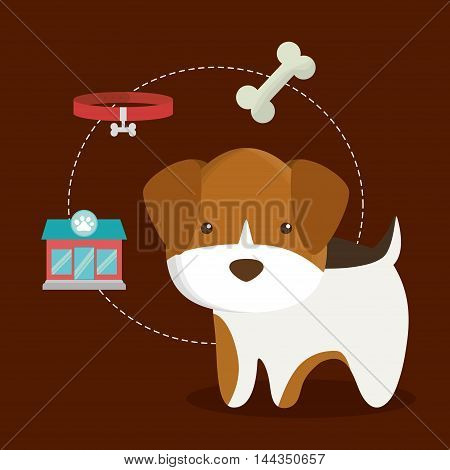 dog bone food shop store necklace cartoon pet animal con. Colorful and flat design. Vector illustration