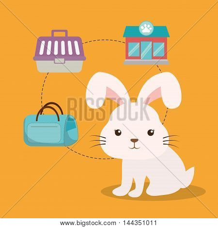 rabbit cartoon pet shop store bag basket animal con. Colorful and flat design. Vector illustration