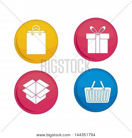 shopping basket bag box gift online payment ecommerce icon. Flat illustration. Vector graphic