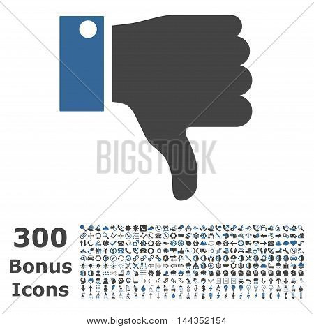 Thumb Down icon with 300 bonus icons. Vector illustration style is flat iconic bicolor symbols, cobalt and gray colors, white background.