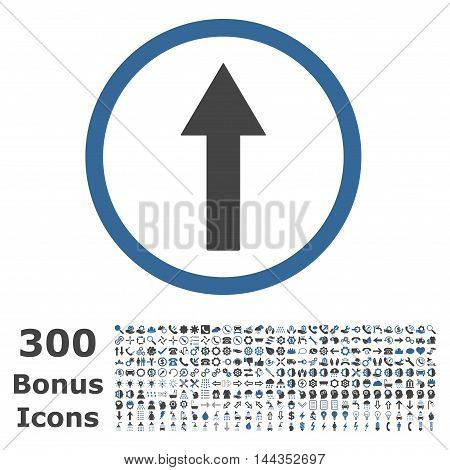 Up Rounded Arrow icon with 300 bonus icons. Vector illustration style is flat iconic bicolor symbols, cobalt and gray colors, white background.