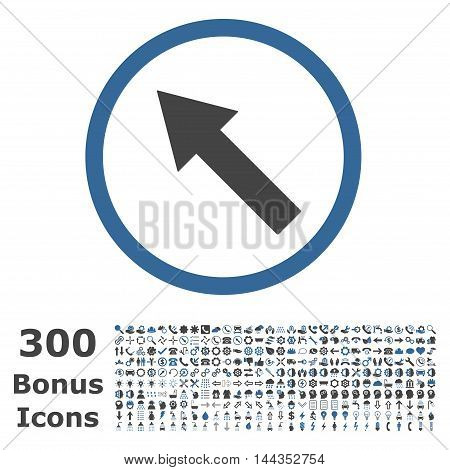 Up-Left Rounded Arrow icon with 300 bonus icons. Vector illustration style is flat iconic bicolor symbols, cobalt and gray colors, white background.