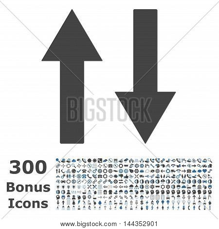 Vertical Flip Arrows icon with 300 bonus icons. Vector illustration style is flat iconic bicolor symbols, cobalt and gray colors, white background.