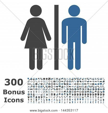 WC Persons icon with 300 bonus icons. Vector illustration style is flat iconic bicolor symbols, cobalt and gray colors, white background.