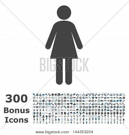Woman icon with 300 bonus icons. Vector illustration style is flat iconic bicolor symbols, cobalt and gray colors, white background.