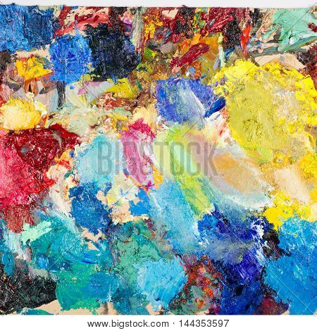 Painters palette . The artist's palette, acrylic, pattern, paintbrush, hand,