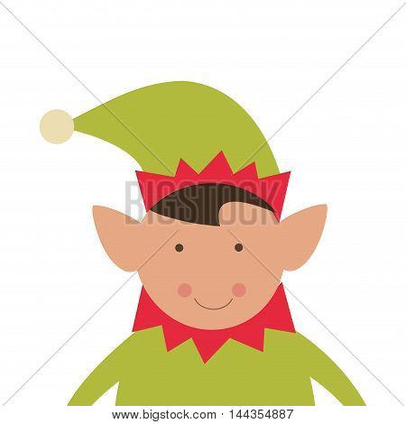 elf merry christmas celebration icon. Flat and Isolated design. Vector illustration
