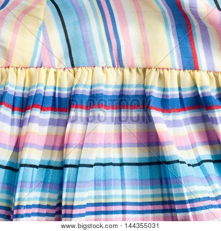 Pleated Fabric. Sinii Yellow Red White Stripes Texture