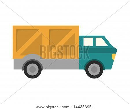 truck box package transportation delivery shipping icon. Flat and Isolated design. Vector illustration