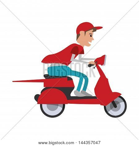 motorcycle man transportation delivery shipping icon. Flat and Isolated design. Vector illustration