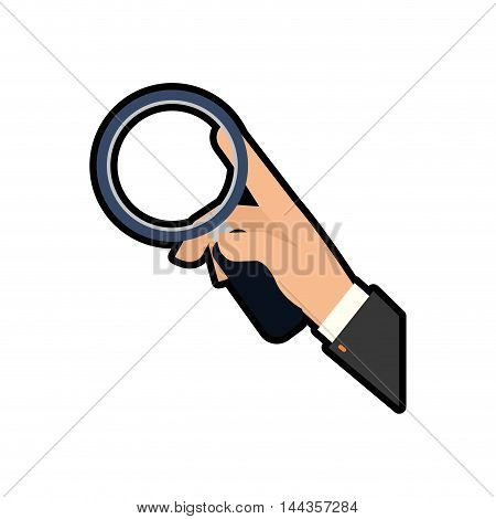 lupe hand search magnifying glass icon. Isolated and flat illustration. Vector graphic